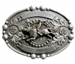 Wrangler Oval Bull Rider Belt Buckle with display stand. Officially licensed. Product code WG3